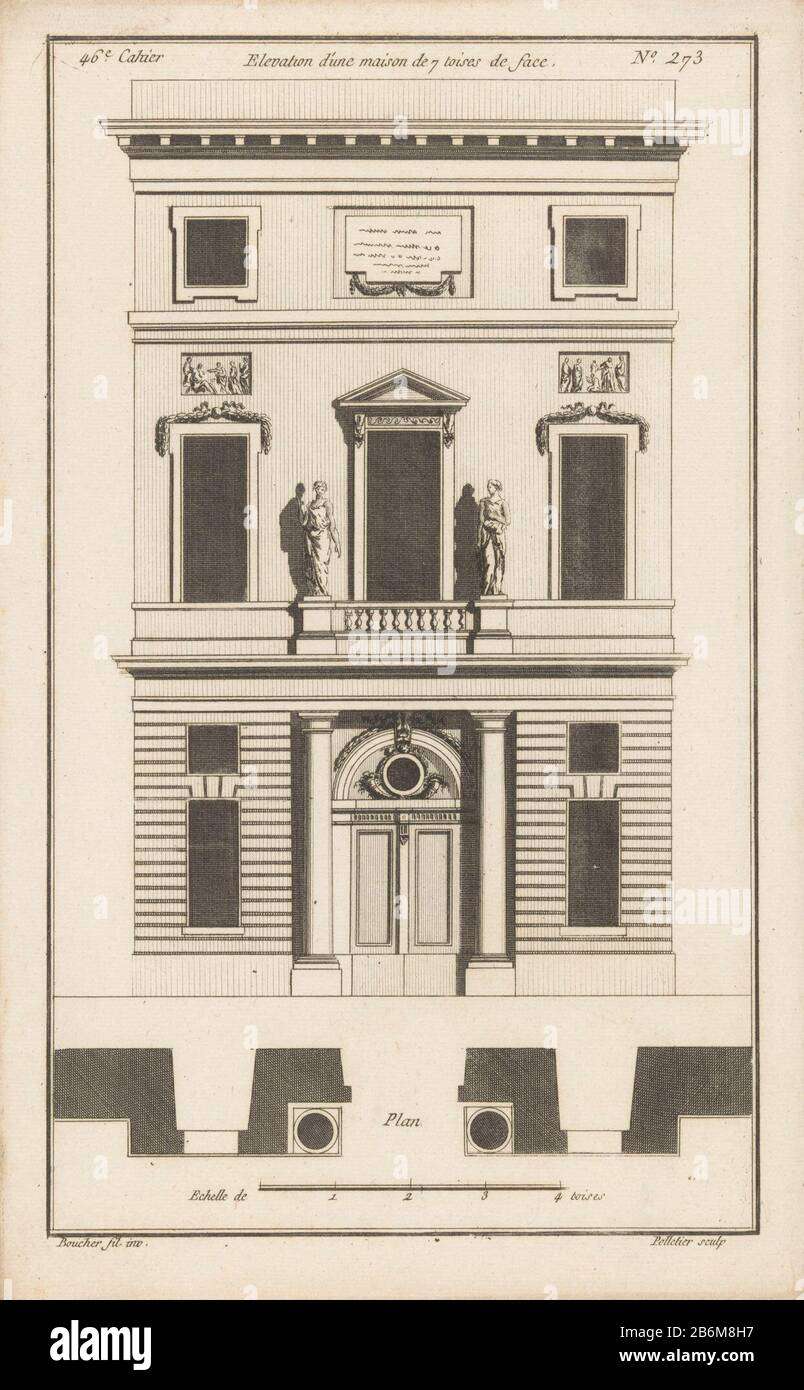 Front View And Plan Of A Facade Of A House Porch With Columns And A Dessus De Porte With Horns Plenteous In Addition A Balcony With Two Statues At The Upper Side