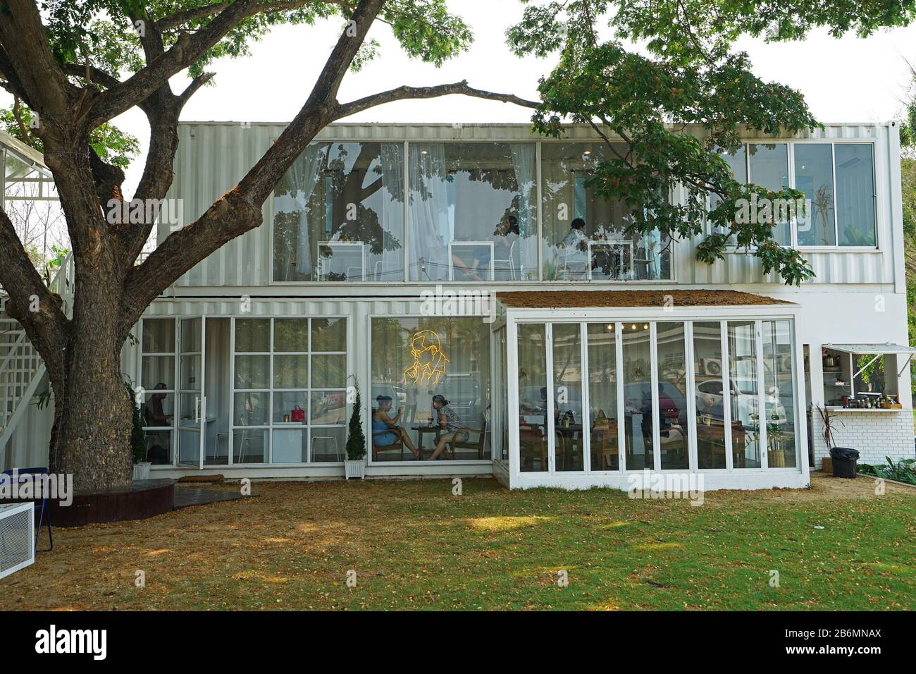 Exterior Architecture And Design Of Life Cafe Local Restaurant Coffee Shop And Beer Bar Among Green Garden Park Stock Photo Alamy