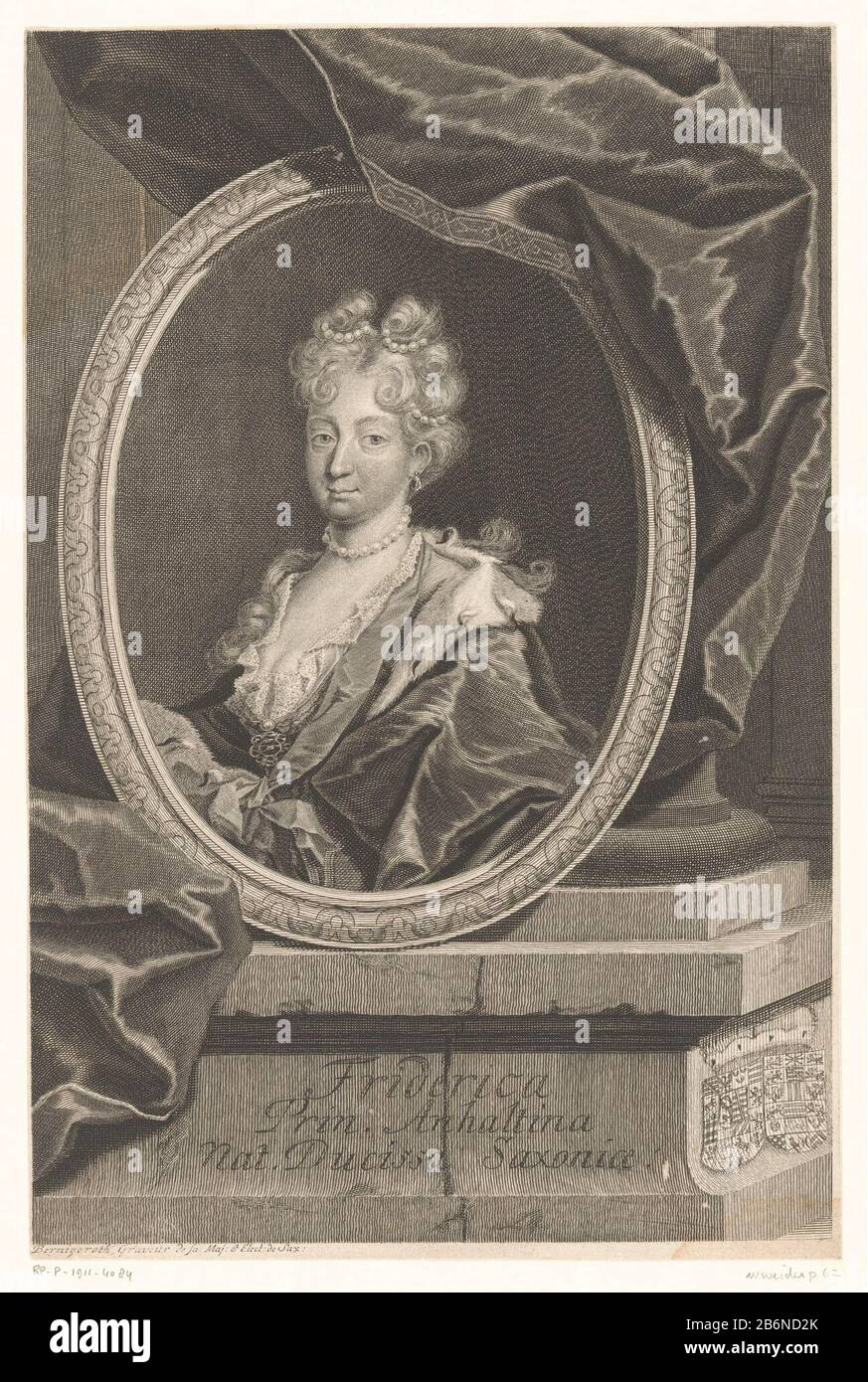 Friederike von Sachsen-Gotha-Altenburg, vorstin van Anhalt-Zerbst Friederike von Sachsen-Gotha-Altenburg, Princess of Anhalt-Zerbst Object Type : picture Item number: RP-P-1911-4084 Inscriptions / Brands: collector's mark, verso, stamped: Lugt 2228 Manufacturer : printmaker Martin Bernigeroth (listed object) Place manufacture: Leipzig Dating: 1707 - 1733 Physical features: etching and engra material: paper Technique: etching / engra (printing process) Dimensions: sheet: h 333 mm (cut in the sheet edge) × W 214 mm (cut in the sheet edge)  Subject: historical persons - BB - womanarmorial bearing Stock Photo