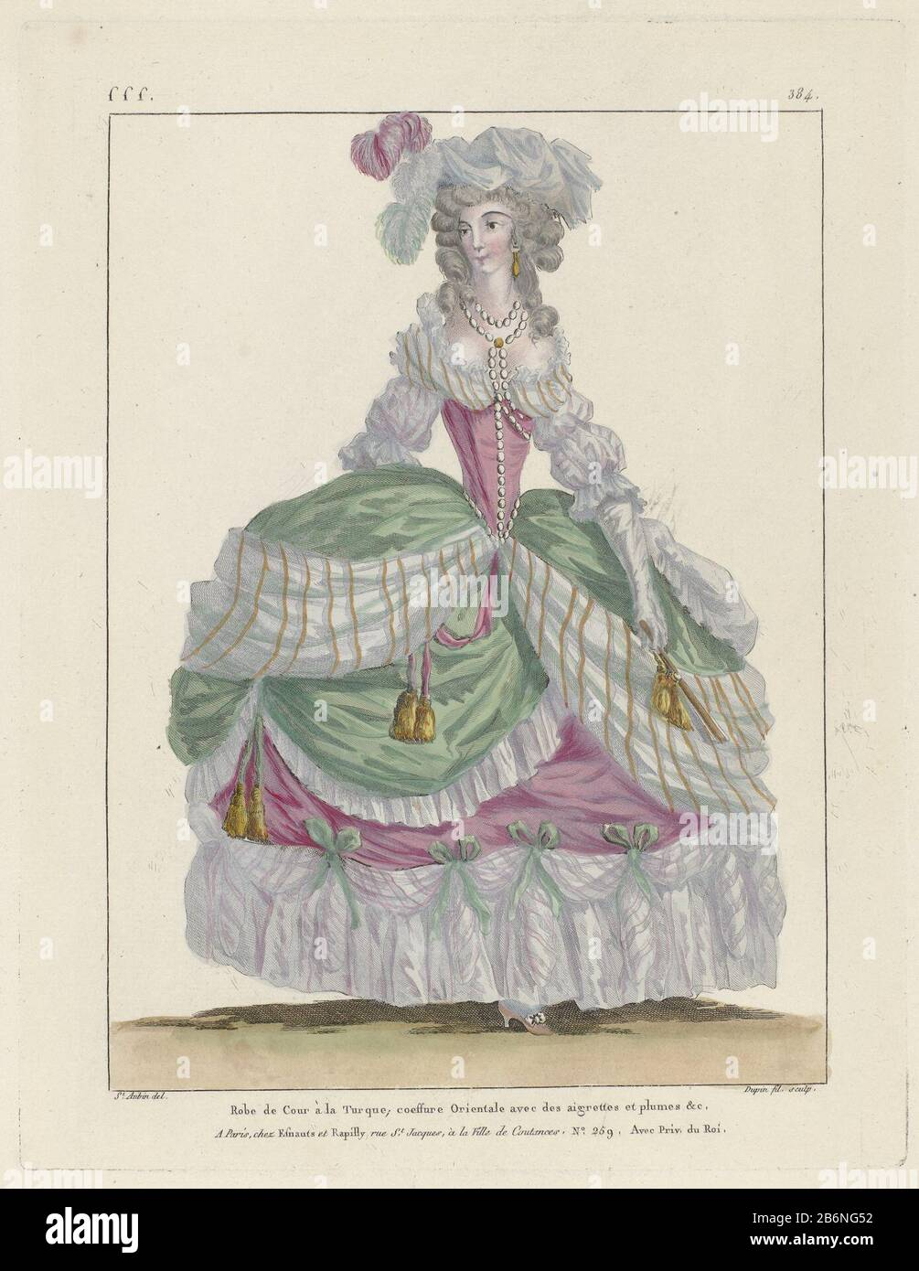 Woman In A Hofjapon A La Turque The Dress Is Decorated With Ribbons And Tassels Draping Of Striped Fabric Trimmed With Bows And Wrinkled Strips Of Fabric Coeffure Orientale Adorned With Feathers