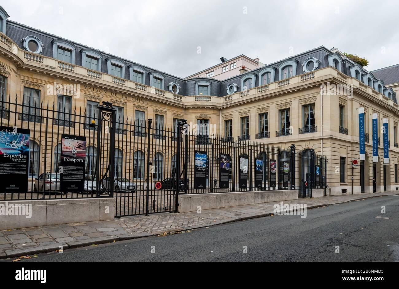 Entrance Gate And Fence At Maison De La Chimie Foundation Paris France Stock Photo Alamy