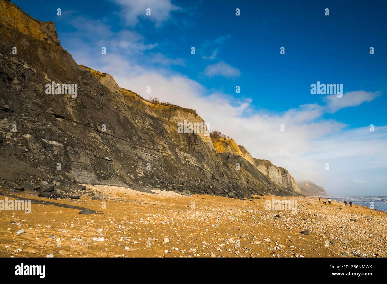 Charmouth, Dorset, UK.  11th March 2020.  UK Weather.  Glorious spring sunshine at Charmouth beach in Dorset looking East towards Golden Cap with the fossil rich cliffs of Stonebarrow showing many landslips from the recent wet stormy weather.  Picture Credit: Graham Hunt/Alamy Live News Stock Photo