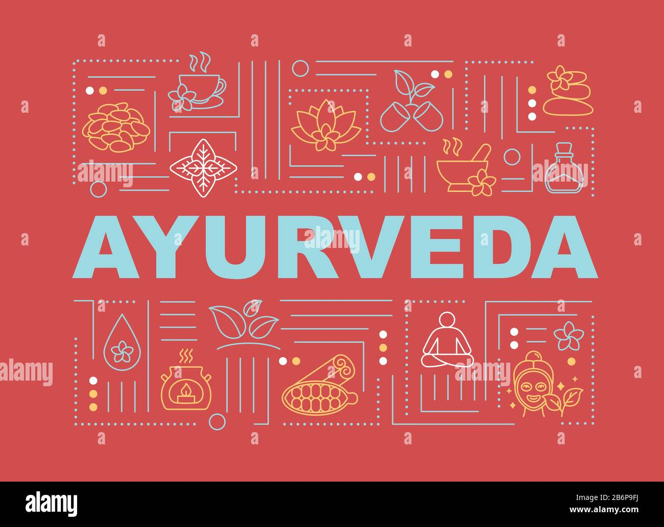 Ayurveda Word Concepts Banner Ayurvedic Medicine Holistic Healing Illness Prevention Infographics With Linear Icons On Red Background Isolated Stock Vector Image Art Alamy