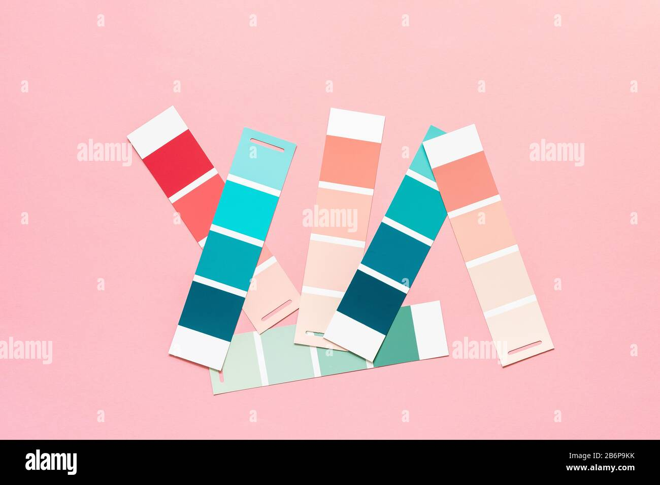 Selection Of Palette For Painting Sample Color Catalog On A Pink Background Different Shades Of Pink And Green Colors Stock Photo Alamy