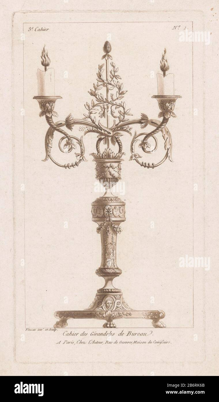 Girandole met thyrsus 3e Cahier Cahier des Girandoles de Bureau (serietitel op object) a two-armed girandole with branches, straw and a thyrsus. Manufacturer : printmaker Claude Dominique Vinsac (listed building) in its design: Claude Dominique Vinsac (listed object) publisher: Claude Dominique Vinsac (indicated on object) Place manufacture: Paris Date: 1759 - 1800 Physical characteristics: etching and aqua tint, printed in brown material: paper Technique: etching / aquatint dimensions: plate edge: h 270 mm × W 145 mm Subject: chandelier, candelabrumthyrsus  attribute of Bacchus Stock Photo