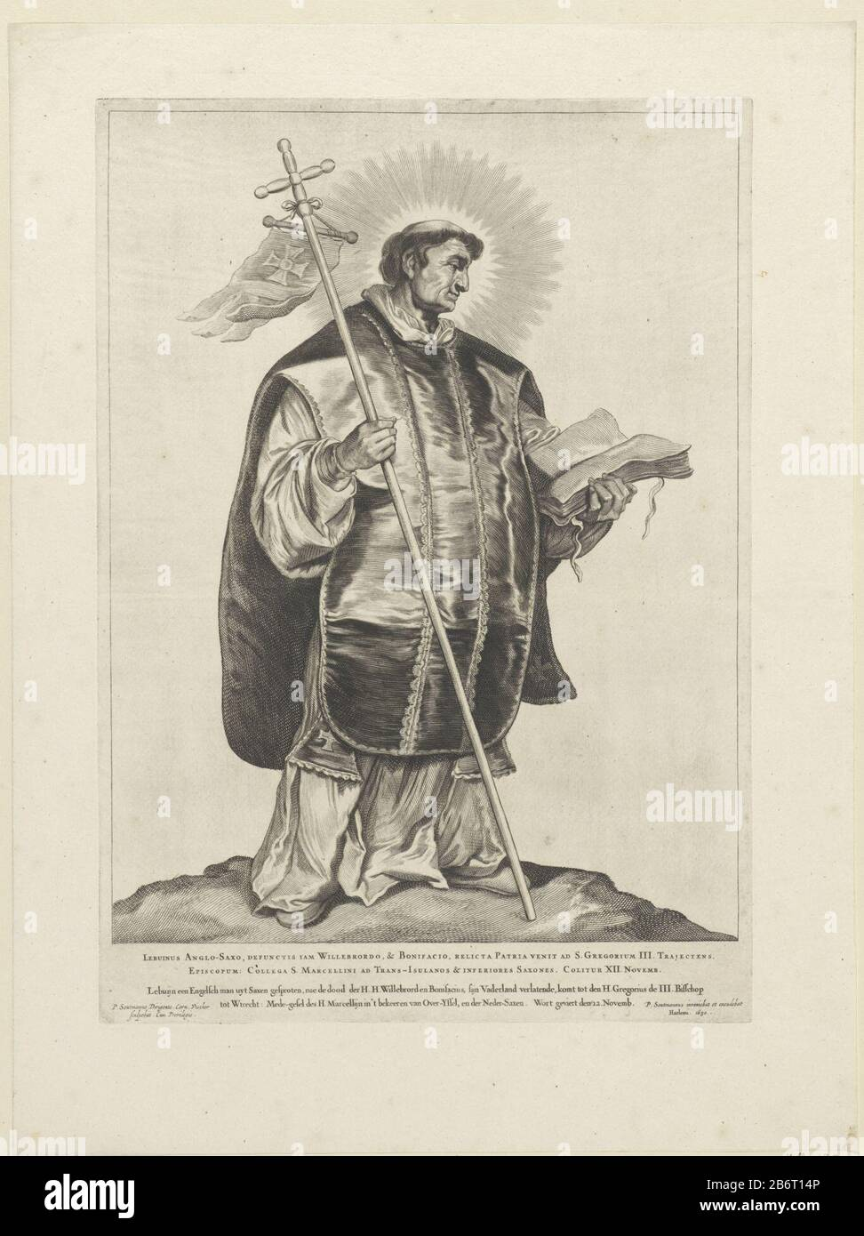 H Lebuinus van Deventer Nederlandse heiligen (serietitel) The sacred Lebuinus depicted as a priest with tunic, chasuble and cross. This print is part of a series of Dutch heiligen. Manufacturer : printmaker Cornelis Visscher (II) (listed building), designed by Pieter Claesz. Soutman (listed building) Publisher: Pieter Claesz. Soutman (listed property) provider of privilege unknown (listed property) Place manufacture: Haarlem Dating: 1650 Physical features: car material: paper Technique: engra (printing process) Dimensions: plate edge: H 441 mm × W 314 mmToelichtingDeze picture is part of the s Stock Photo