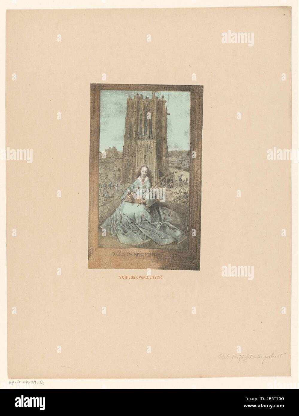 Saint Barbara is the tower Where: in it by her father locked up. In her hands she has a book and a palmtak. Manufacturer : printmaker: anonymous publisher: AC Kruseman Date: 1857 - 1864 Physical characteristics: color lithograph material: paper Technique: color lithograph (process) Dimensions: sheet: H 390 mm × W 300 mmToelichtingNaar a painting by Jan van Eyck in 1437 in the collection of the Royal Museum of Fine Arts Antwerpen. Subject: the virgin martyr Barbara; possible attributes: book, cannon (ball), crown, cross, chalice with wafer Dioscuros (her father), peacock feather, sword, torches Stock Photo