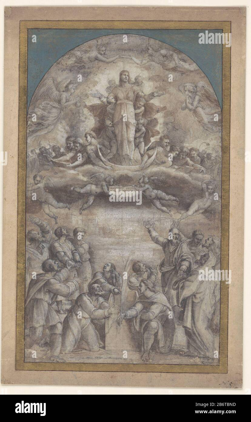 Hemelvaart van Maria Draft schilderij. Manufacturer : artist: Sebastiano del Piombo Dating 1500 - 1547 Physical features: pen in brown, brush in brown gray and white to light gray-brown paper material: paper ink technology: pen / brush dimensions: h 454 mm × W 270 mmToelichtingLindeman 2008 mentions a publication Pouncy 1964, but in the bibliography is a publication that year not. Model for a not executed altaarstuk. Subject: the assumption of Mary (Assumption corporis): she is borne into heaven by angels Stock Photo
