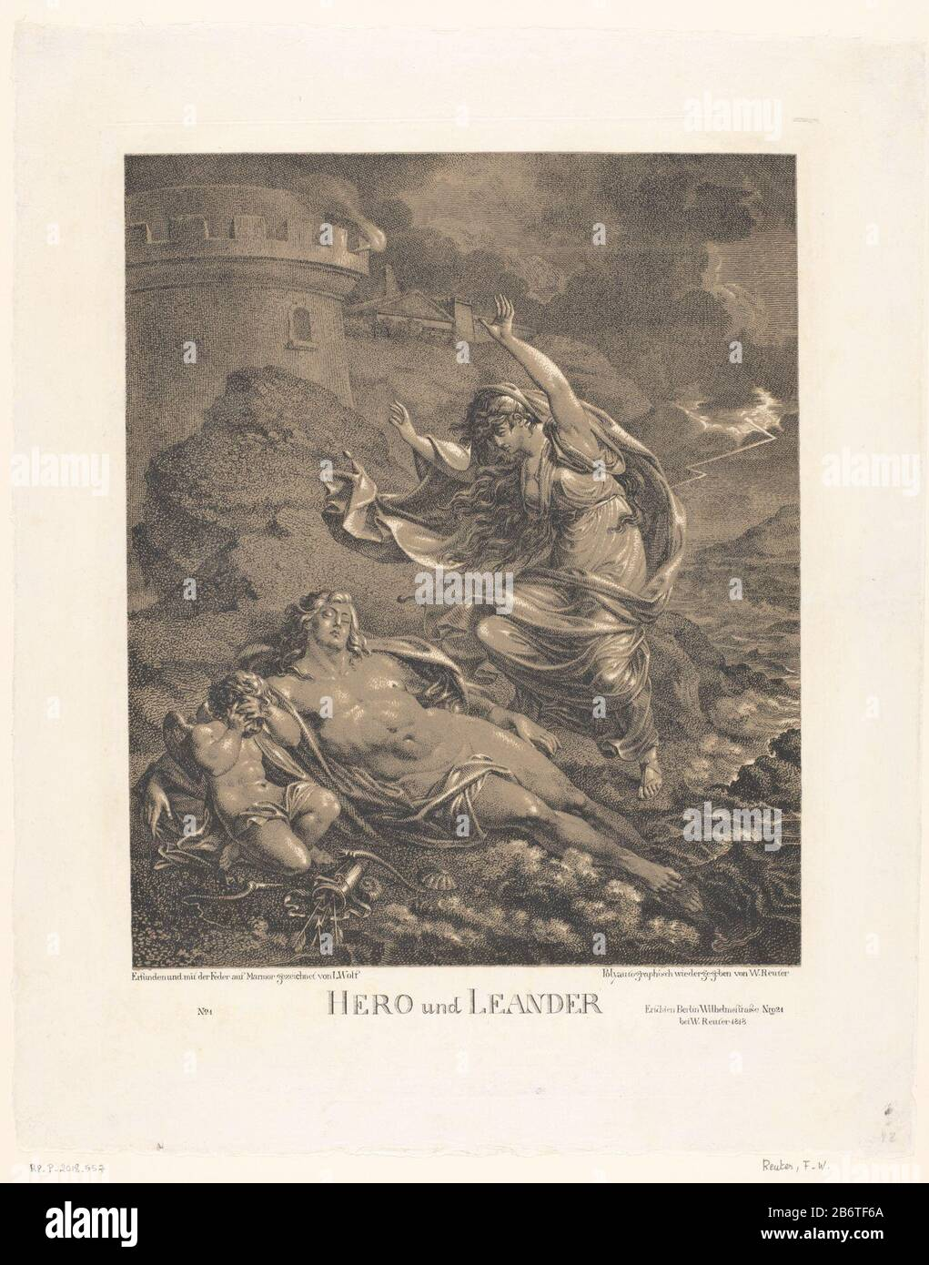 Hero en Leander Hero und Leander (titel op object) Hero finds the stranded body of Leander drowned on the coast. Left a grie Cupido. Manufacturer : printmaker: Friedrich Wilhelm Reuter (listed property) to drawing: Ludwig Wolf (listed building) Publisher: Friedrich Wilhelm Reuter (listed property) Place manufacture: Berlin Date: 1818 Physical features: tone lithograph in black and brown material: paper technique: lithography (technique) Dimensions: image: h 382 mm × W 316 mm Subject: Hero mourning the dead Leander on the sea-shore Stock Photo