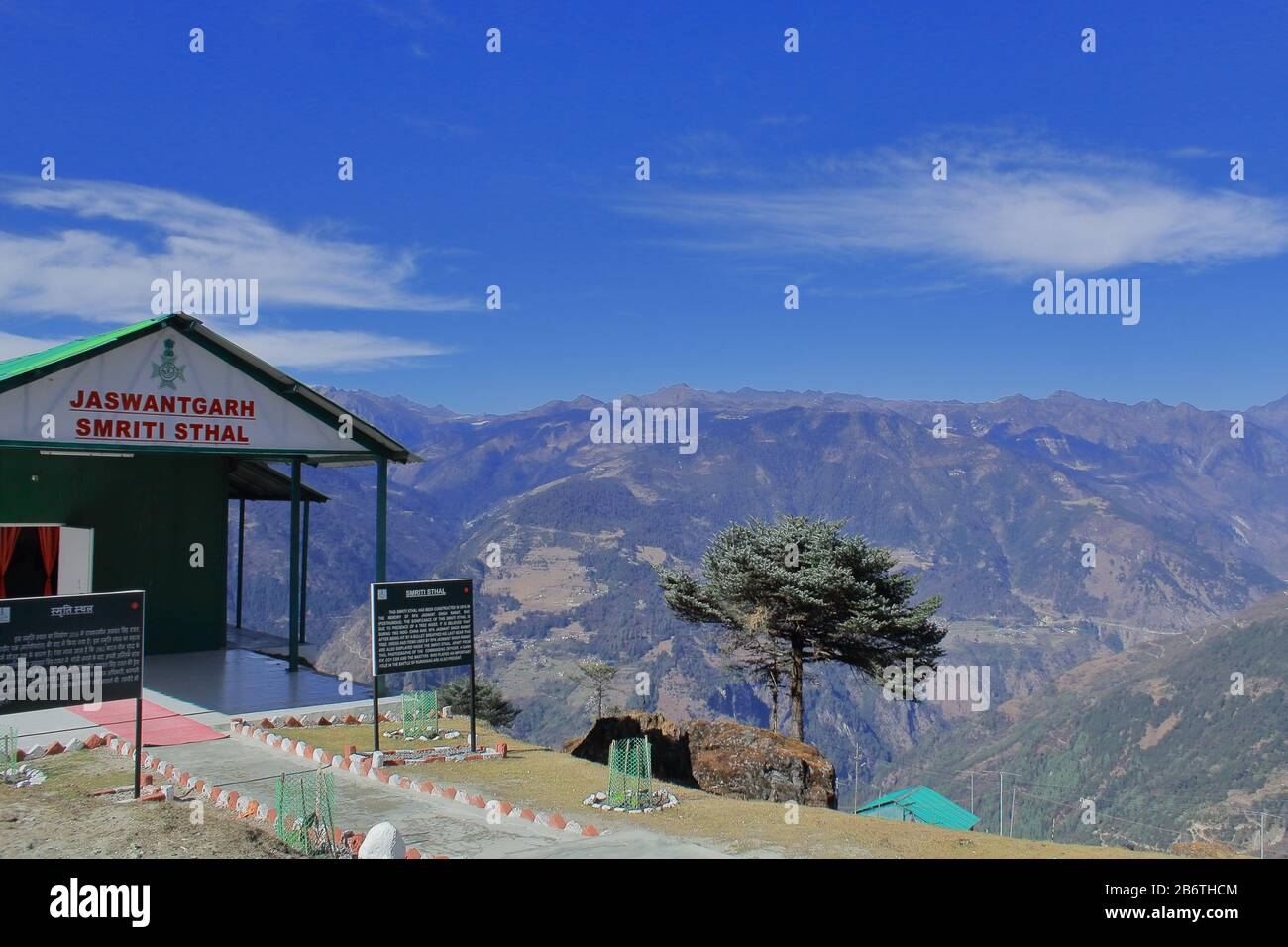 jaswantgarh smriti sthal with alpine landscape. this war memorial is a popular tourist spot in tawang, arunachal pradesh, india Stock Photo
