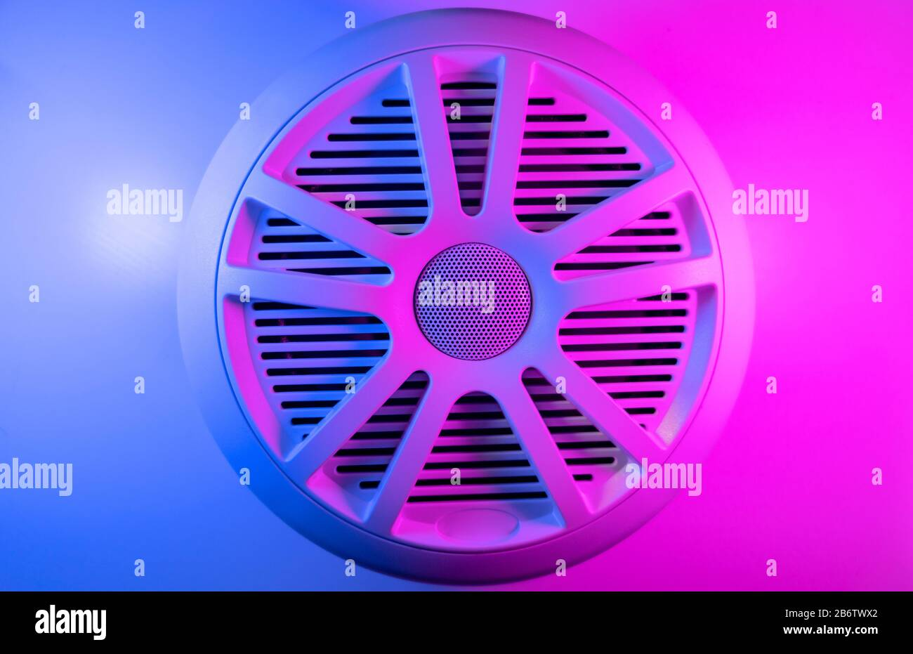 Colorful Lights Of Car Stereo And Car Speakers Background Car Music Audio Speaker In Blue And Pink Tones Modern Car Audio System Close Up Stock Photo Alamy