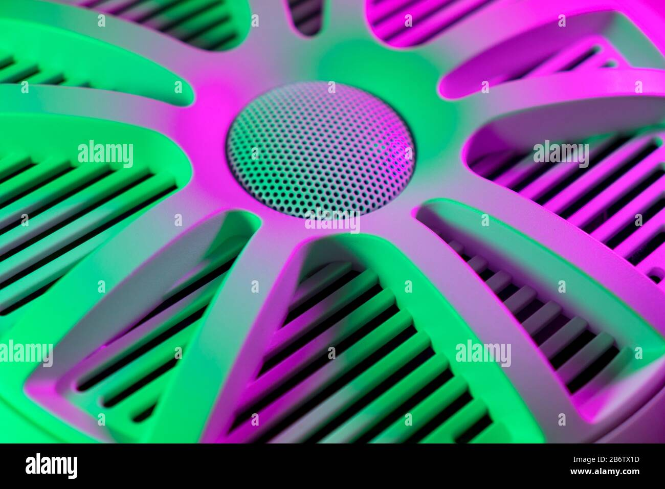 Colorful Lights Of Car Stereo And Car Speakers Background Car Music Audio Speaker In Green And Pink Tones Modern Car Audio System Close Up Stock Photo Alamy