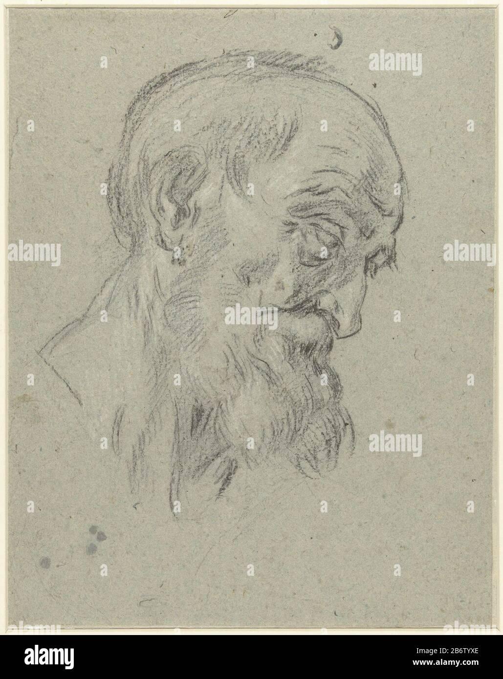 Hoofd Van Grijsaard Neerziend En Profil Naar Rechts Head Of Old Man Looking Down In Profile