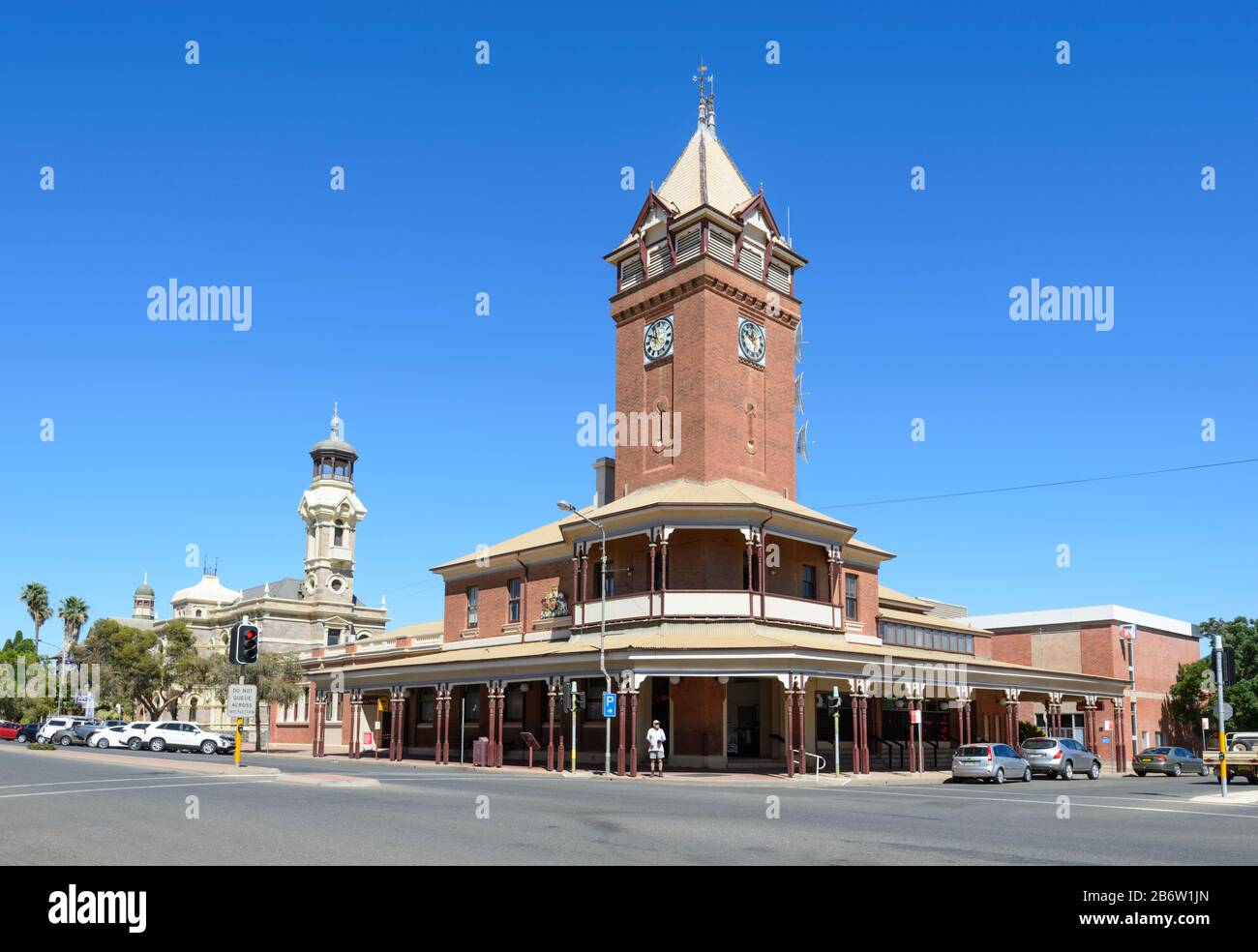 View of the Heritage-listed Post Office Building, 1892, Argent Street, Broken Hill, New South Wales, NSW, Australia Stock Photo