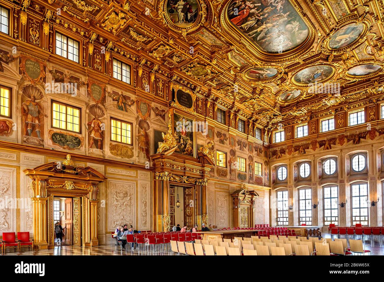 Golden Hall with coffered ceiling and portals, Ceremonial Hall, late Renaissance, designed by Johann Matthias Kager, town hall, Augsburg, Swabia Stock Photo - Alamy