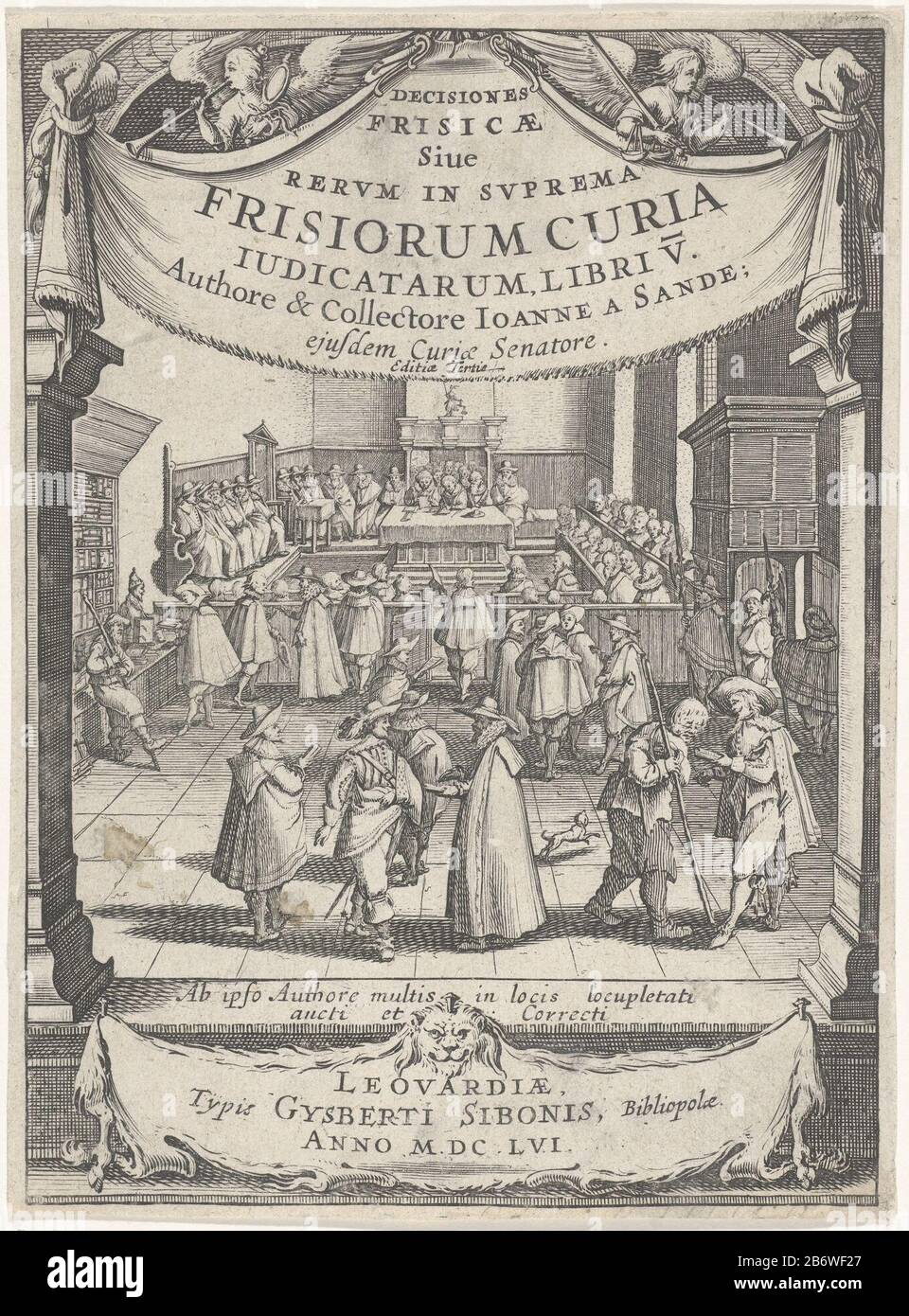 Interieur van een rechtbank Titelpagina voor Johan van den Sande, Decisiones Frisicae siue Rerum in suprema Frisiorum curia judicatarum, libri V, 1656 Many male figures in an interior of a court. On either side of the show two columns with there over the title. Above the title two angels with the attributes Where: of justice and a mirror, respectively scales and sword. Among the performance, a spread lion's skin ha thereon the impressum. Manufacturer : print maker: J. Herman Publisher: Gysberti Sibonis (indicated on object) writer: Johan, van den Sande (indicated on object) Place manufacture: Stock Photo