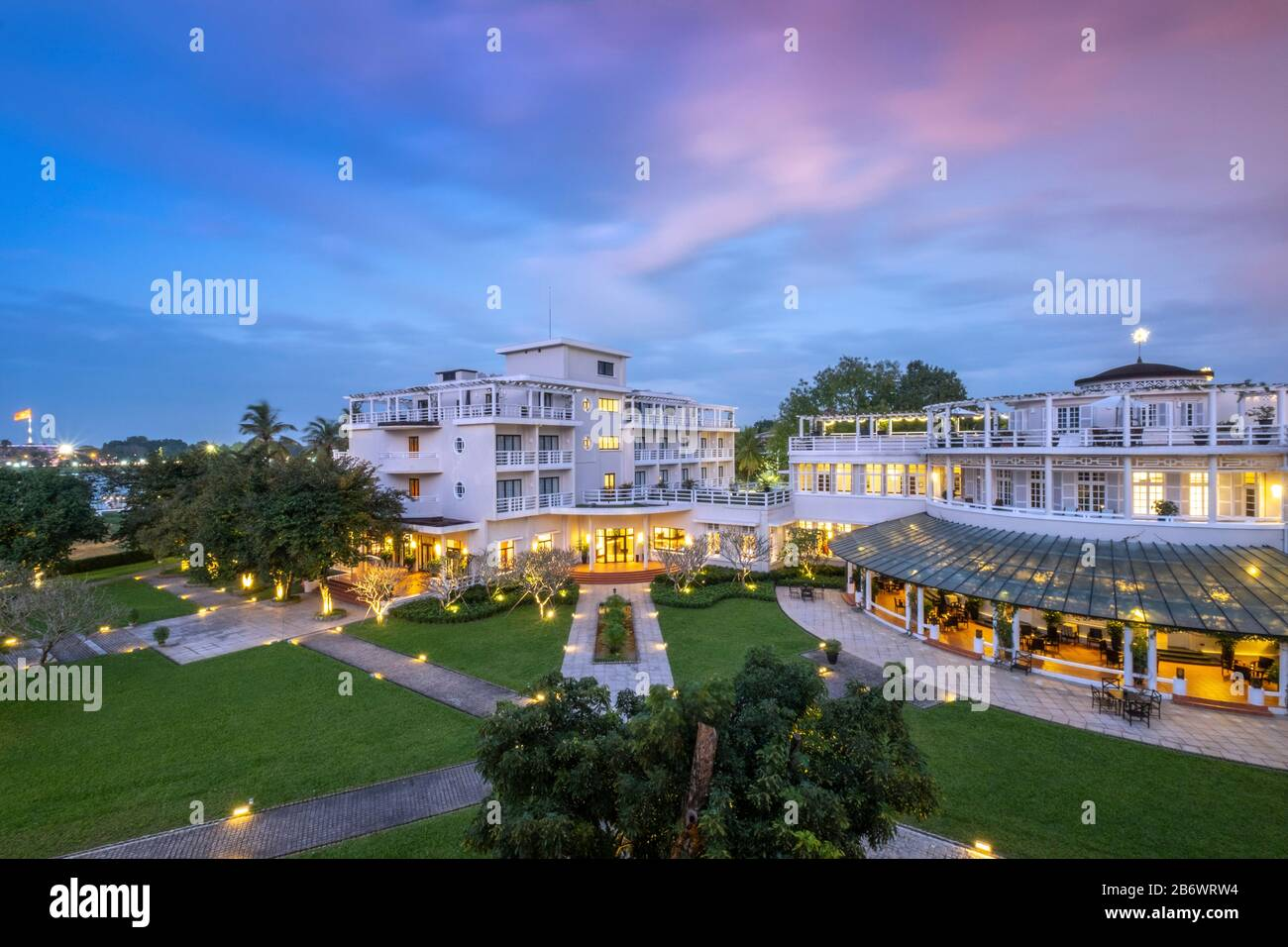 Southeast Asia, Vietnam, The Azerai La Residence hotel in Hue - a boutique hotel in a heritage building in the historical city and world heritage site Stock Photo