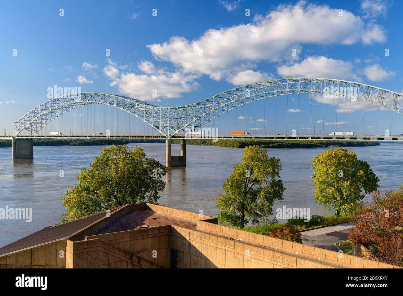 USA,Deep South,  Tennessee, Memphis, Mississippi river bridge Stock Photo