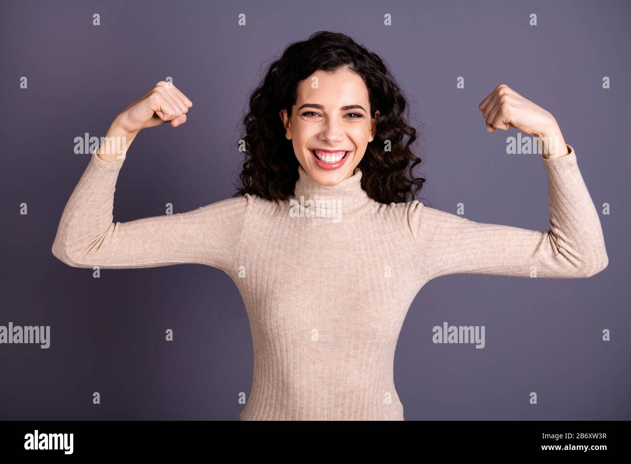 Close up photo amazing attractive she her lady showing presenting own cool big muscles I don't need hero girls power strong concept idea wear casual Stock Photo