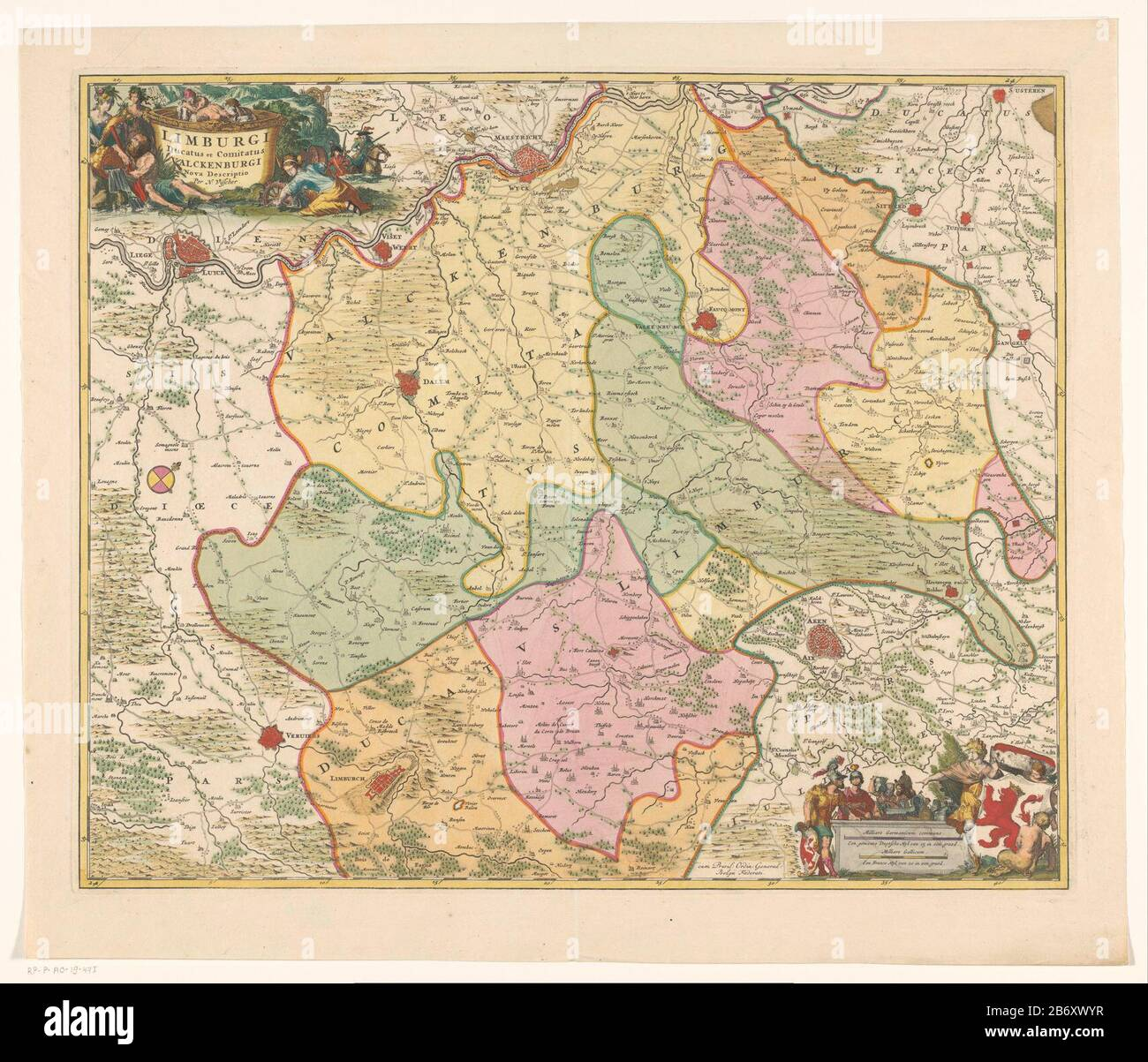 Kaart van het hertogdom Limburg en het graafschap Valkenburg Limburgi ducatus et comitatus Valckenburgi (titel op object) Map of the Duchy of Limburg and the county Valkenburg. Top left the title cartouche. Right a cartouche with the arms of the Duchy of Limburg and two shell sticks: A nasty Duytsche Myl 15 in graed / A France Myl 20 in graed. The card has a degree distribution along the randen. Manufacturer : printmaker: anonymous publisher: Nicolaes Visscher (I) (listed building) publisher: Nicolaes Visscher (II) (listed building) publisher: widow Nicolaes Visscher (II) (possibly) provider o Stock Photo