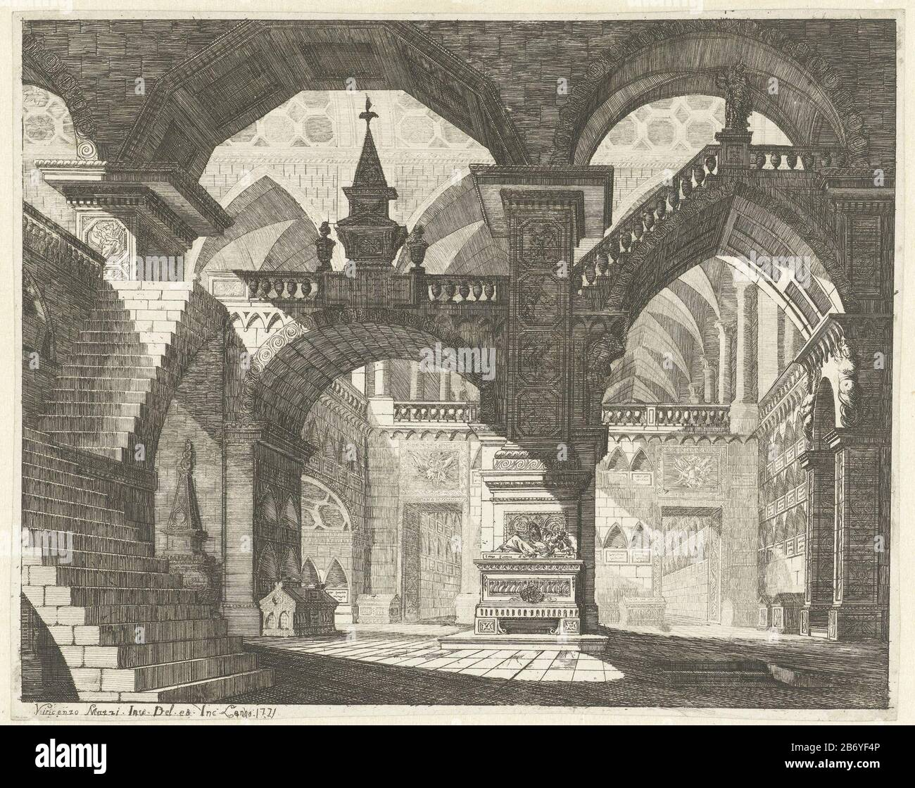 Kerkinterieur Caprici Di Scene Teatrali Serietitel Fantasy Interior Of A Church With With Stairs And Railings In The Crypt Various Tombs Print Out A Series Of Twelve With For Theaterdecors Manufacturer Examples