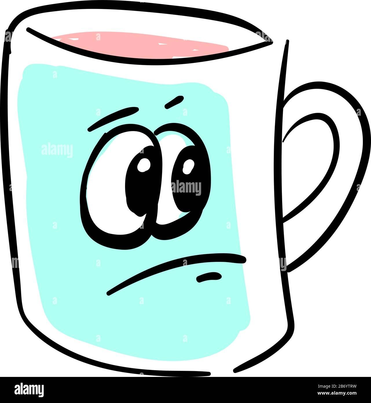 Sad Coffee Mug Illustration Vector On White Background Stock Vector Image Art Alamy