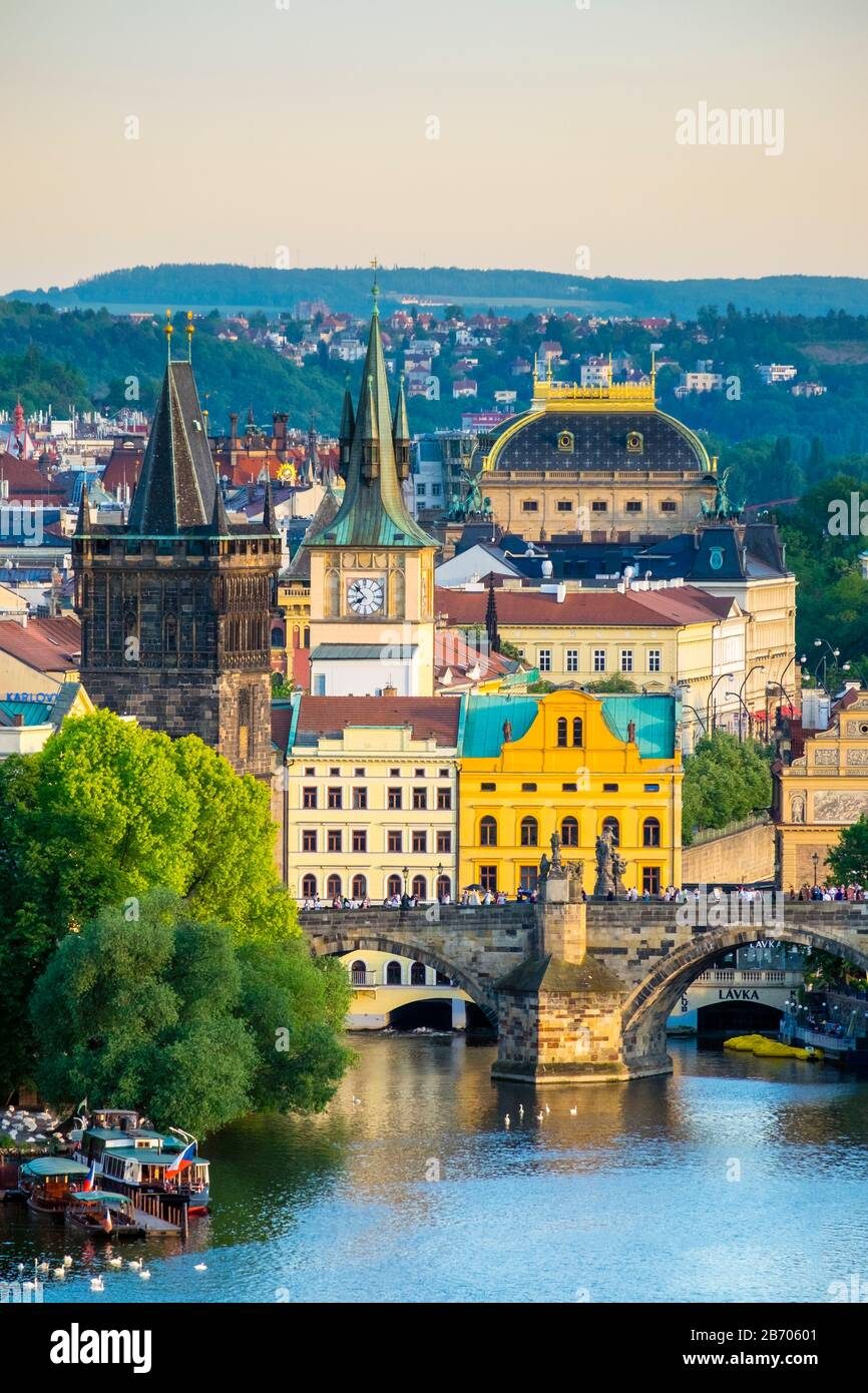 Czech Republic, Prague. View of Charles Bridge and buildings in Mala Strana Old Town from Letna Park, on Letna Hill. Stock Photo