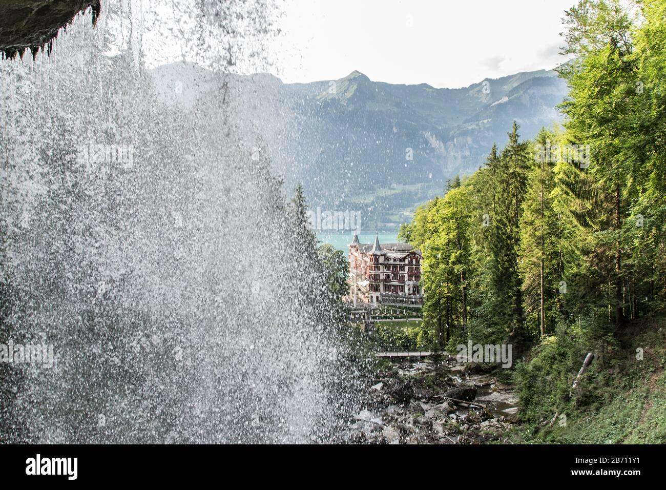 Giessbach waterfall in Switzerland Stock Photo
