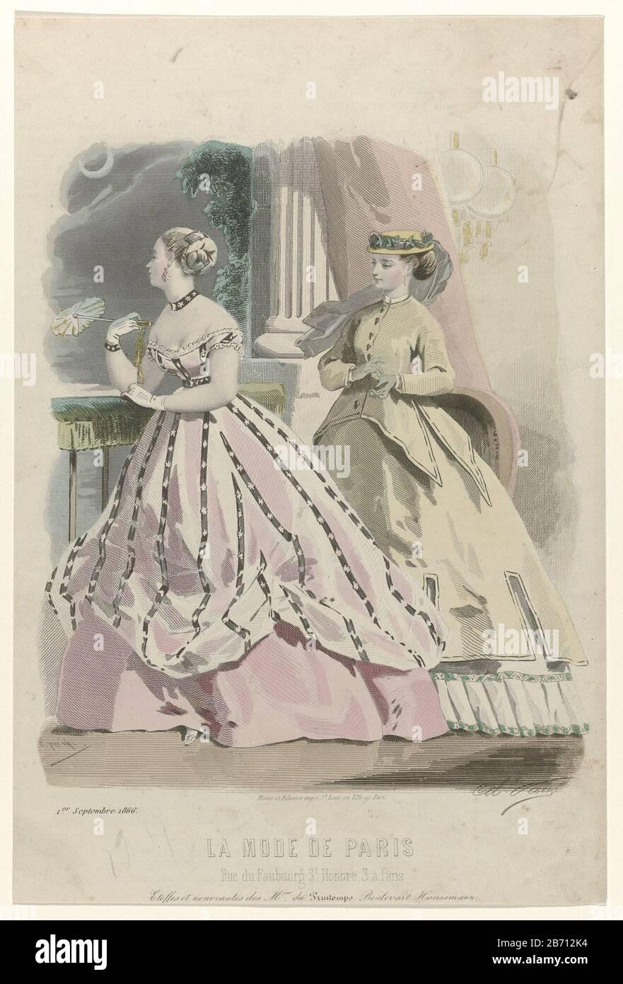 Antique Print 1859 PARIS Ladies Fashions for September