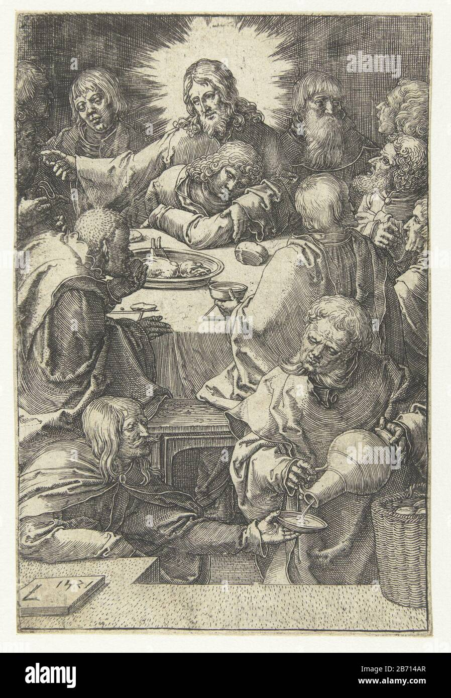 Laatste avondmaal De kleine Passie (serietitel) Christ at table with his disciples, Judas puts a piece of bread in the mouth. John sleeps on lap Christus. Manufacturer : printmaker: Lucas van Leyden (listed building) in its design: Lucas van Leyden Place manufacture: Netherlands Date: 1521 Physical features: car material: paper Technique: engra (printing process) Dimensions: sheet: H 116 77 mm × b mm Subject: Judas Iscariot is revealed axis Christ's betrayer (communion or Jude) Stock Photo