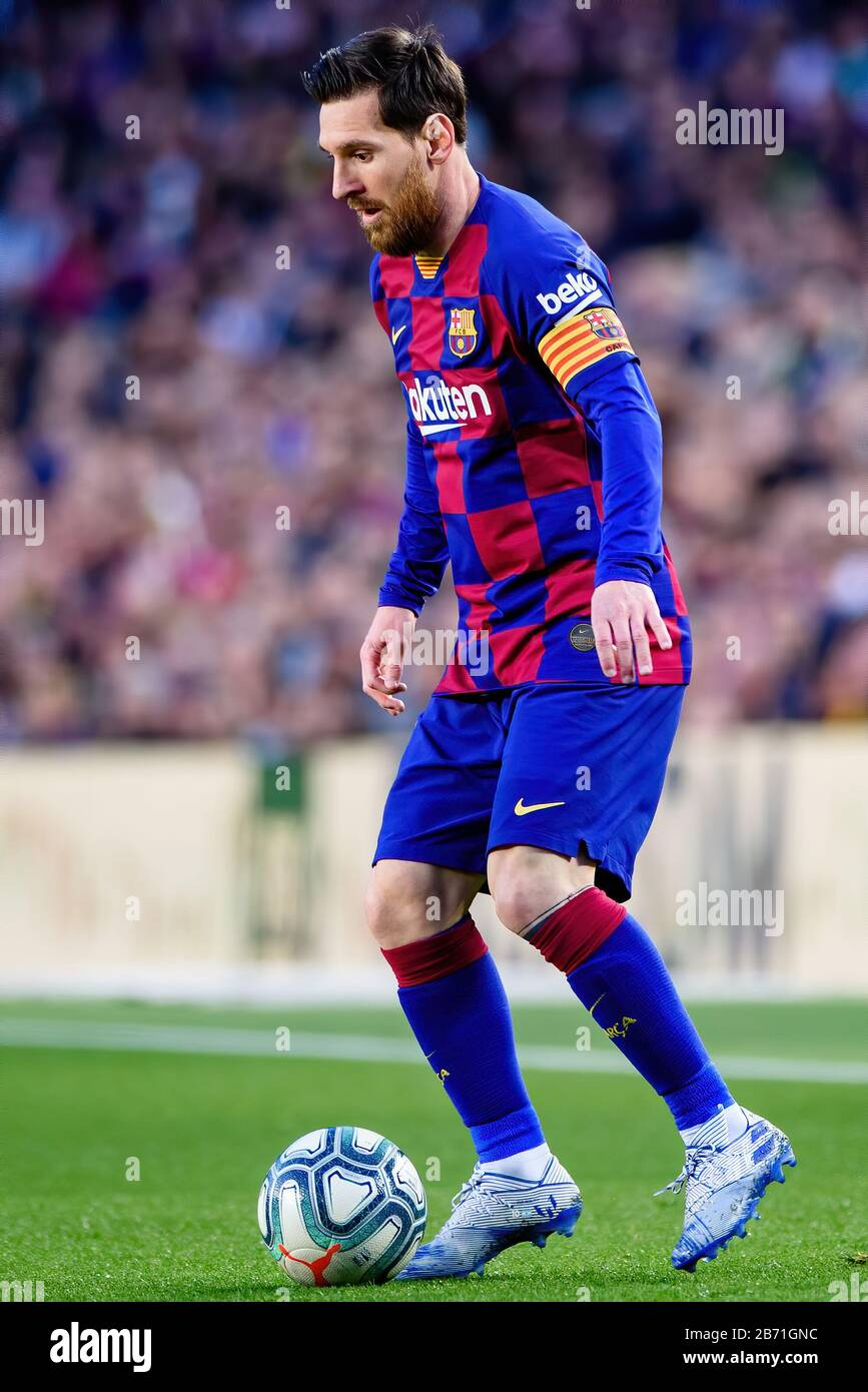 BARCELONA - MAR 7: Lionel Messi plays at the La Liga match between FC Barcelona and Real Sociedad de Futbol at the Camp Nou Stadium on March 7, 2020 i Stock Photo