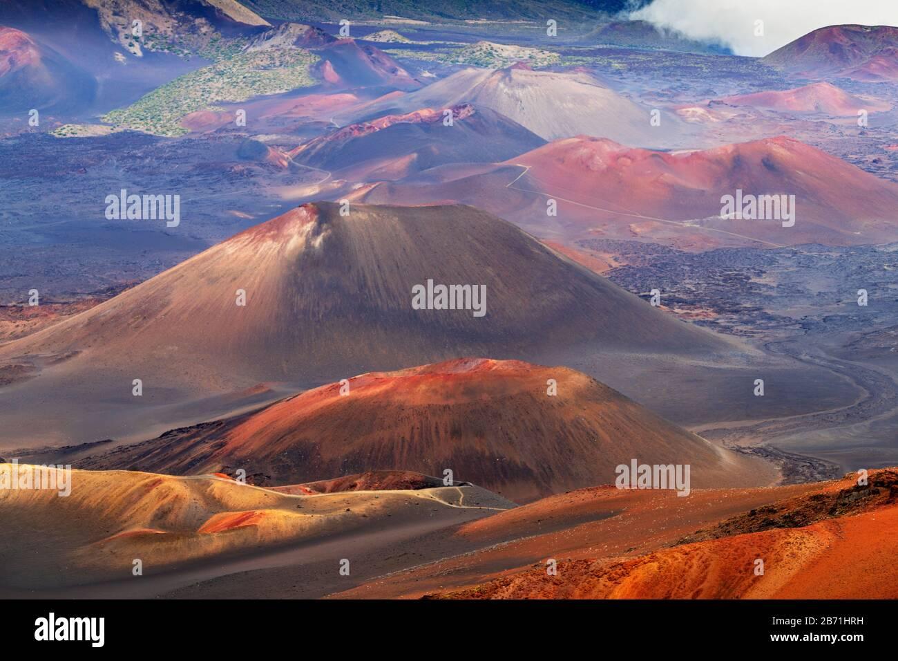 United States of America, Hawaii, Maui island, Haleakala National Park, volcanic landscape Stock Photo