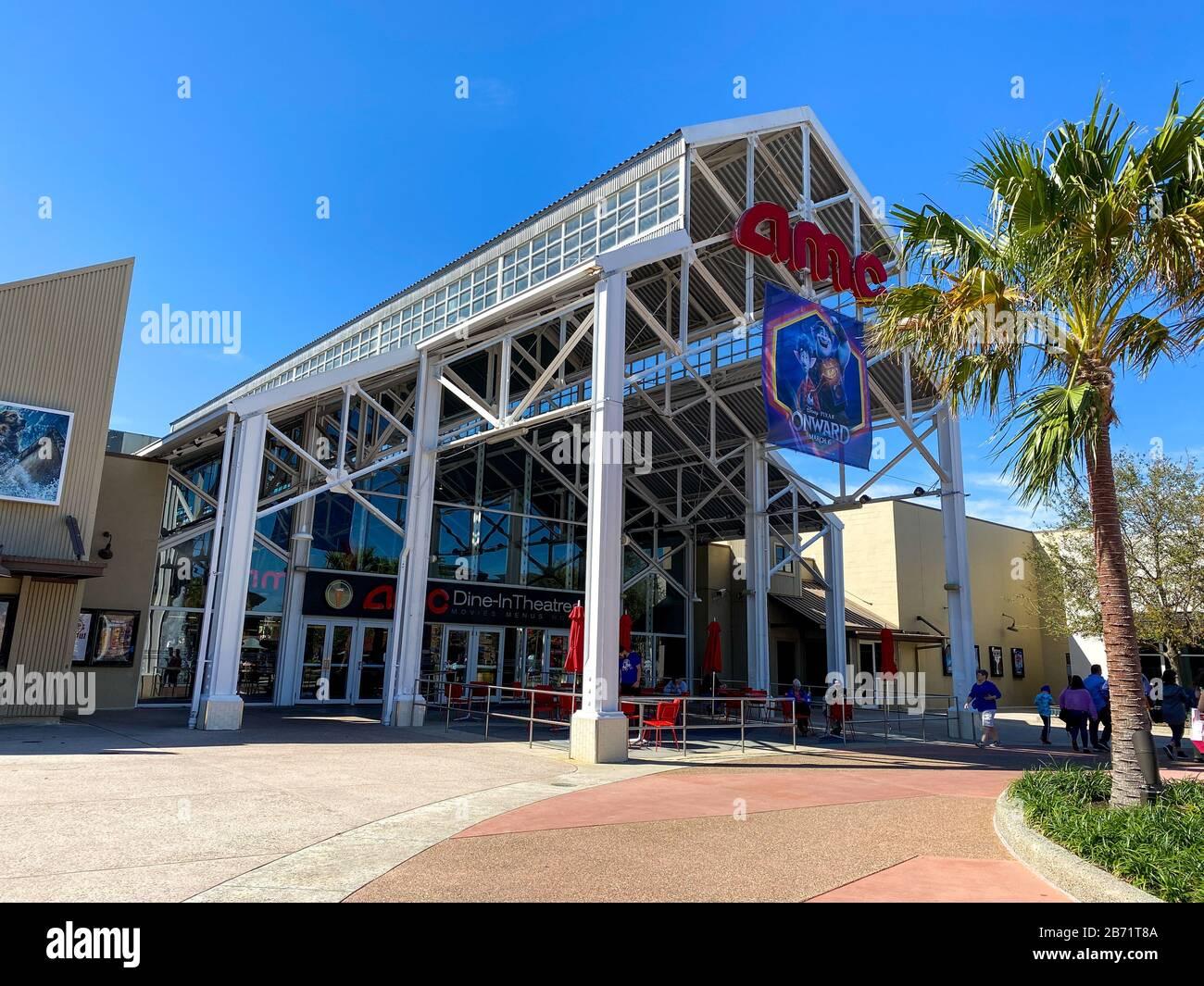 Orlando, FL/USA-2/29/20: An AMC Dine-In Theatre at an outdoor mall in Orlando, Florida. Stock Photo