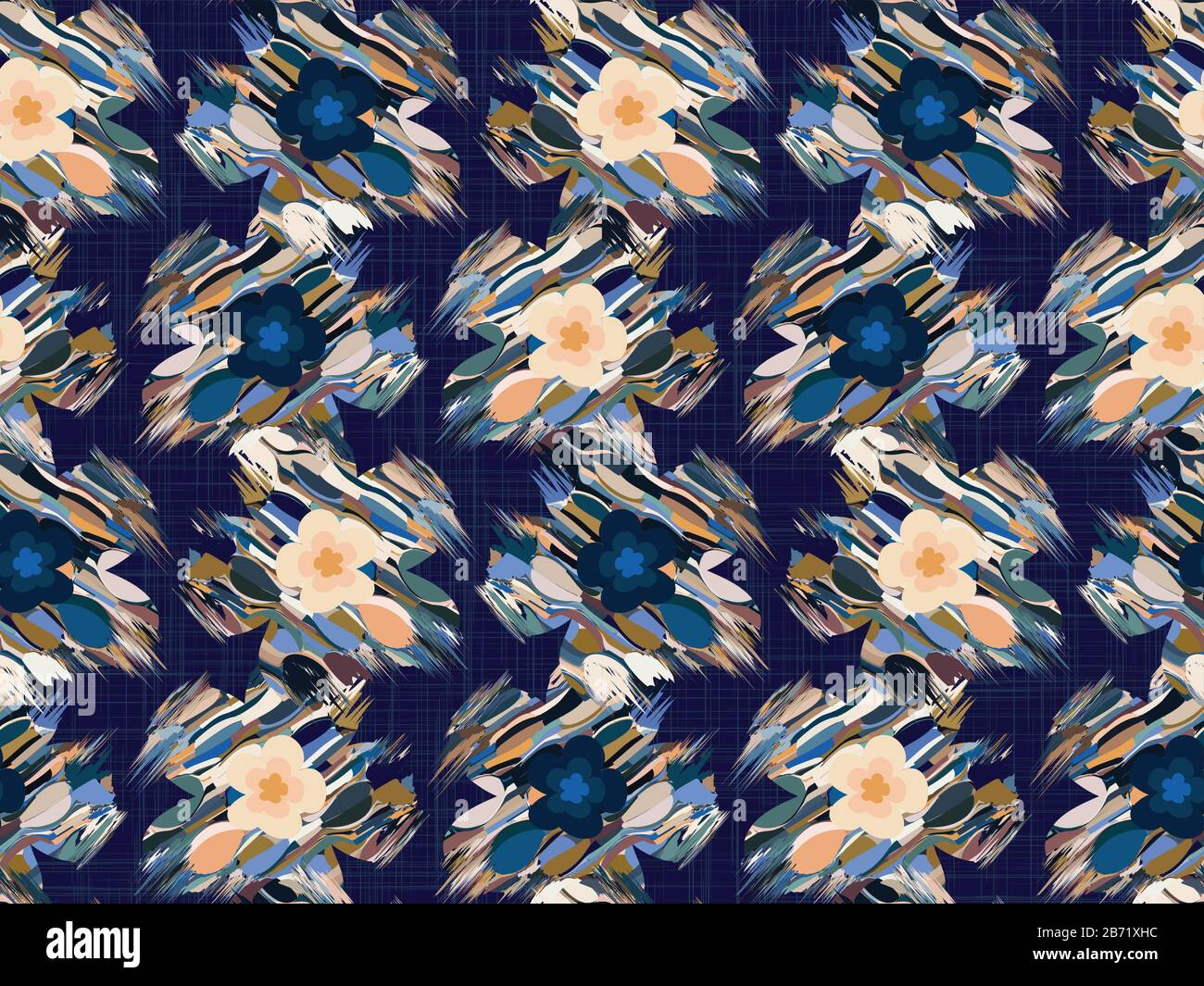 Distorted Graphic Glitch Daisy Flower Seamless Pattern Modern