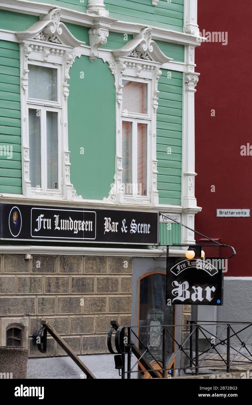 Kjopmannsgata Street, Trondheim City, Trondelag County, Norway Stock Photo