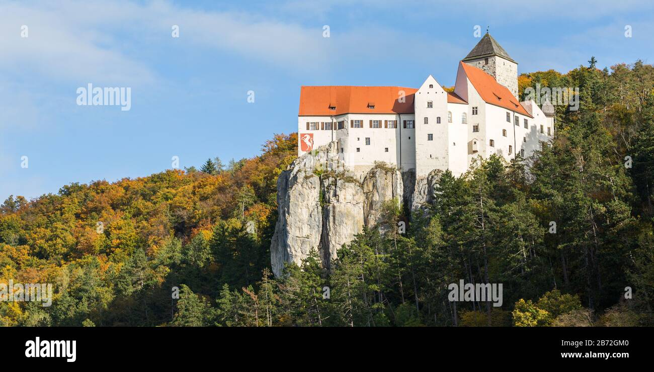 Panorama view of Prunn castle / Burg Prunn. Old, medieval fortress on top of a mountain. Historcial construction of the middle-ages. Stock Photo