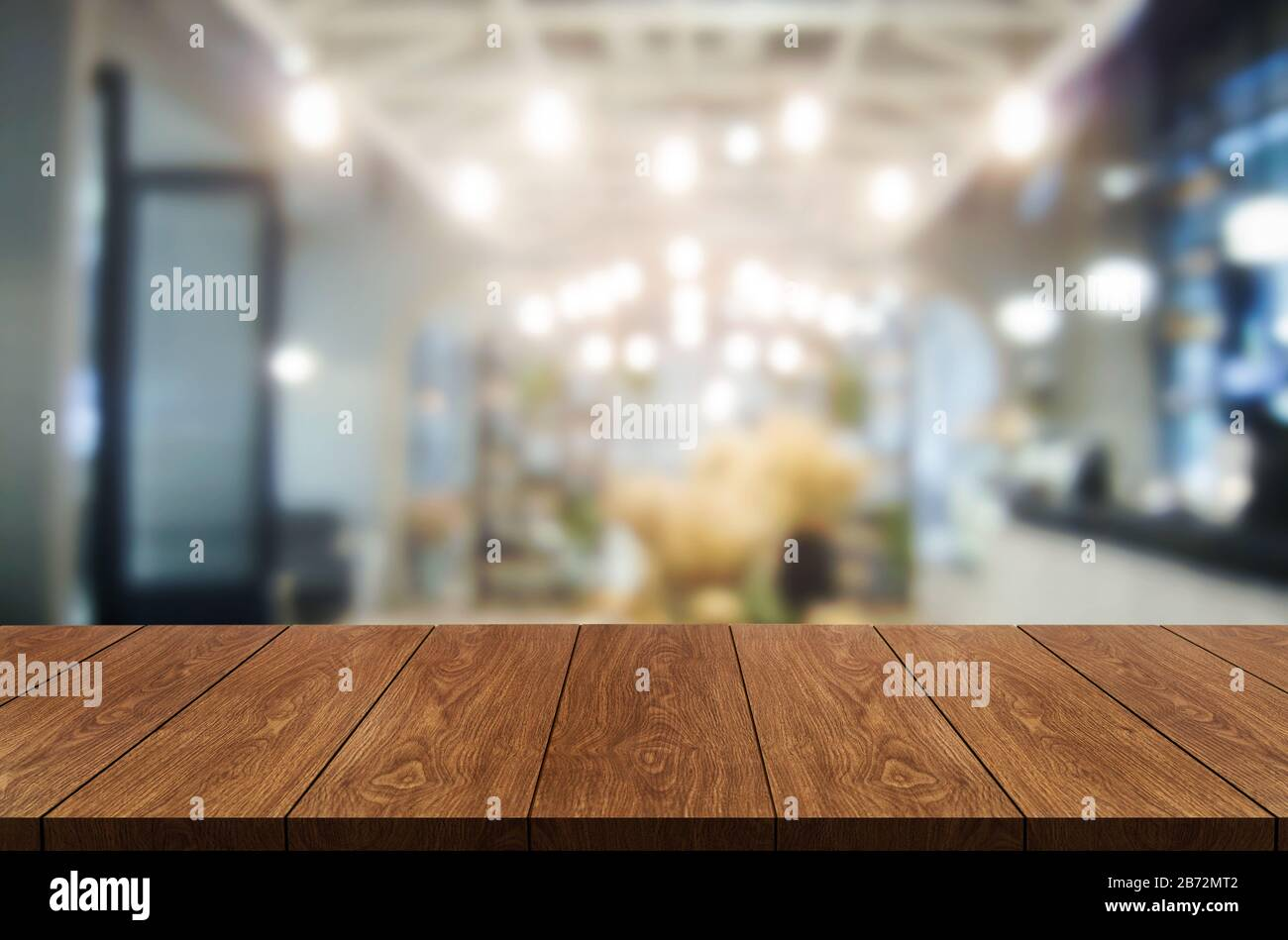 Wood Table In Blurry Background Of Modern Restaurant Room Or Coffee Shop With Empty Copy Space On The Table For Product Display Mockup Interior Resta Stock Photo Alamy