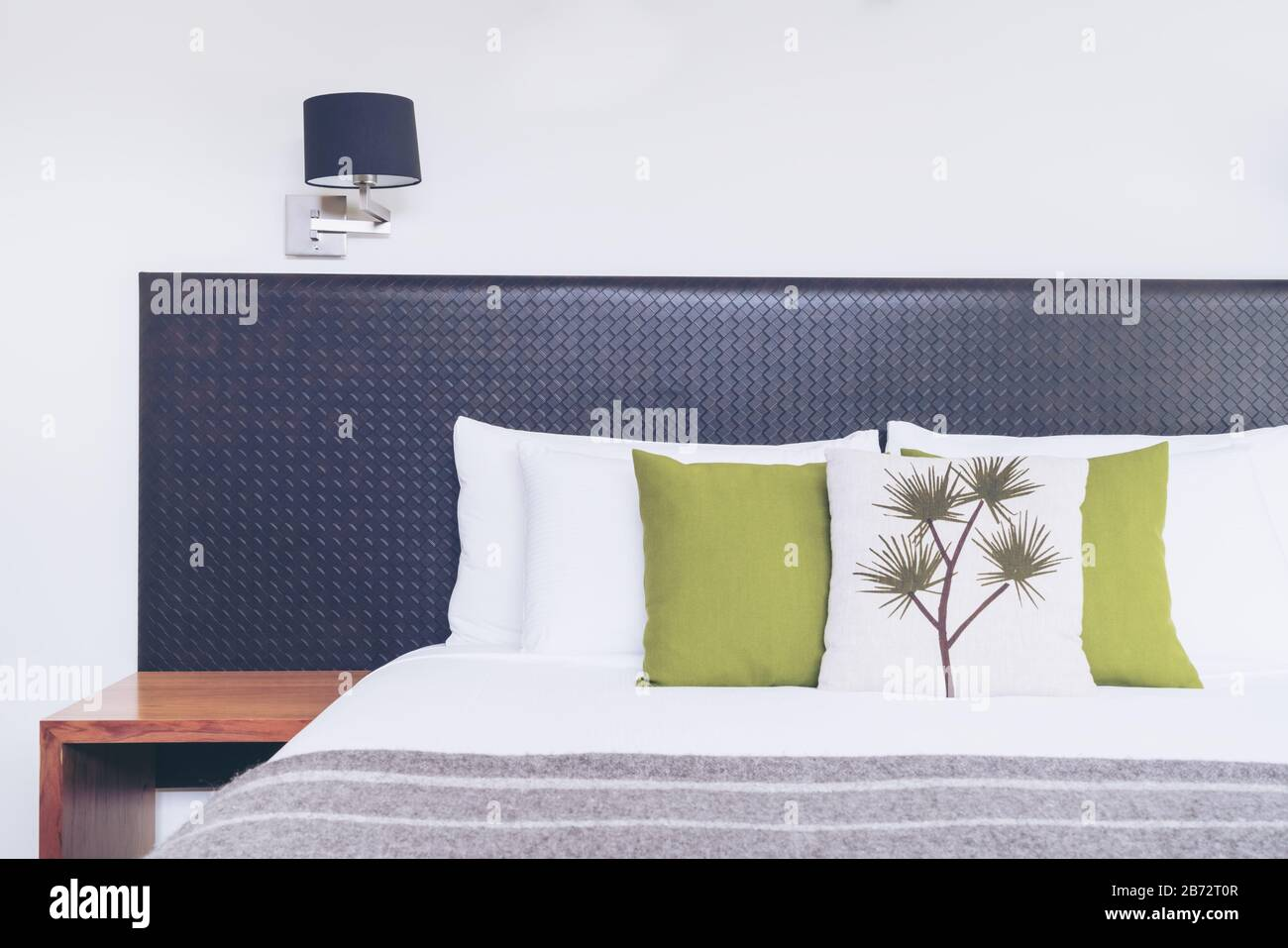 Bed Headboard Design In Bedroom Interior With Pillows And Blanket On The Bed Close Up View Of Australian Style Bedroom With Cozy Interior Design For Stock Photo Alamy