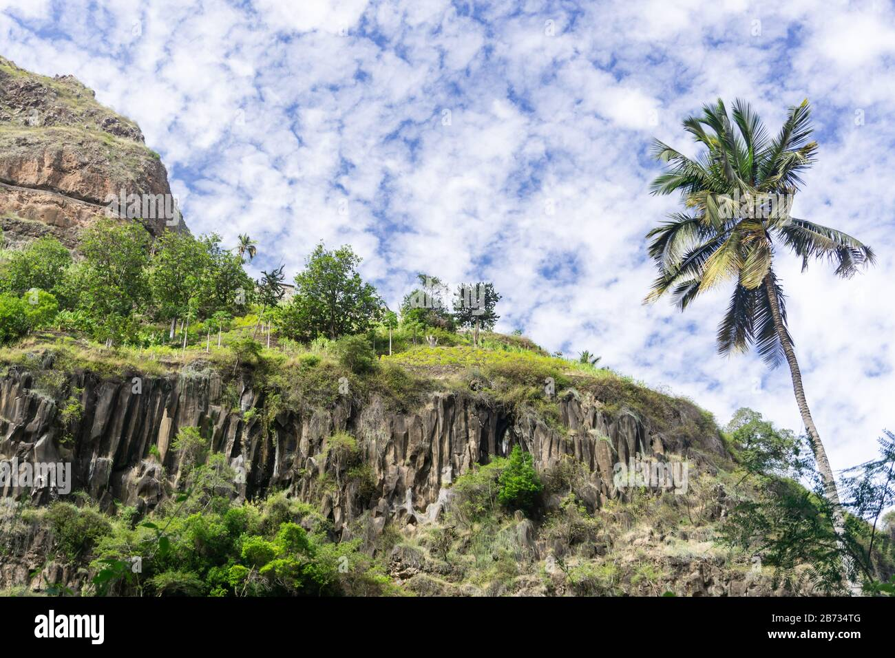 Mountains in Santo Antao Island, Cabo Verde, green cape and beautifull sky and nature Stock Photo