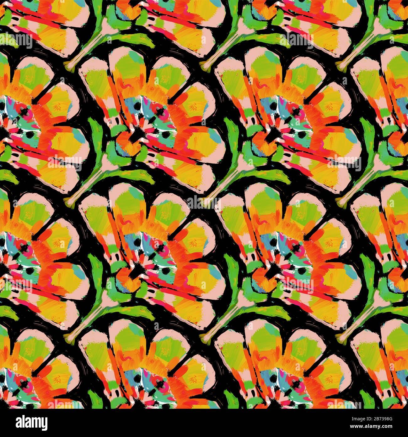Vintage Retro Fabric Orange Stylized Flowers Mod Print Cotton