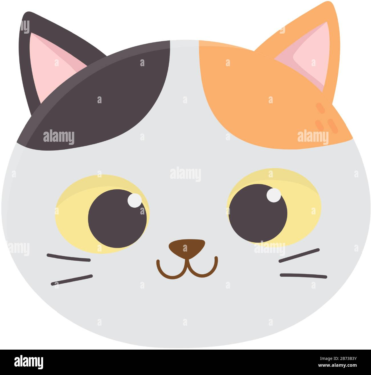 Cute Cat Face Feline Cartoon Animal Icon Vector Illustration Stock