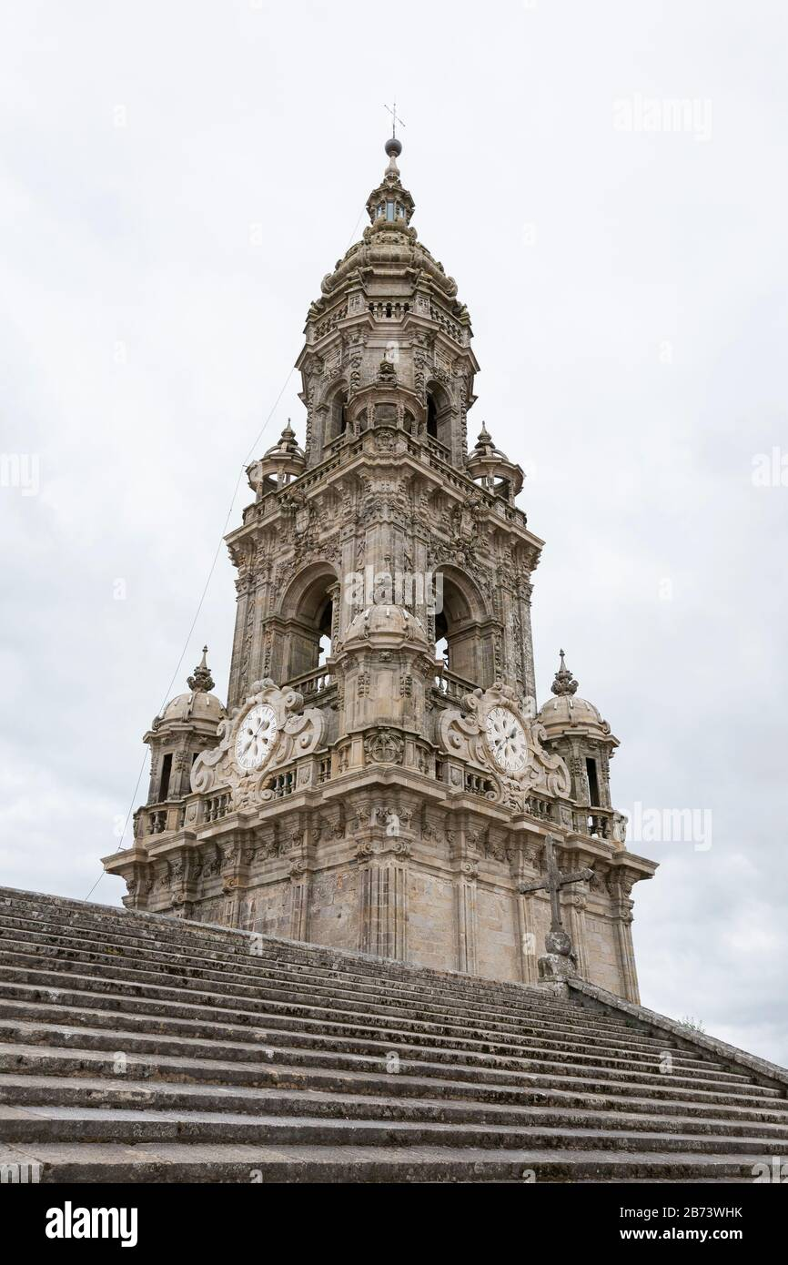 The Torre da Berenguela clock tower from the rooftop of the Cathedral of Santiago de Compostela in Galicia, Spain. The city is the terminus of the Way Stock Photo