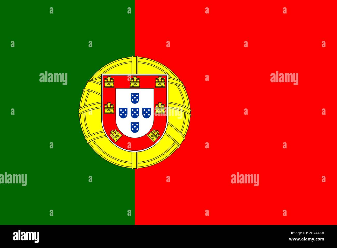 Flag of Portugal - Portuguese flag standard ratio - true RGB color mode  Stock Photo - Alamy