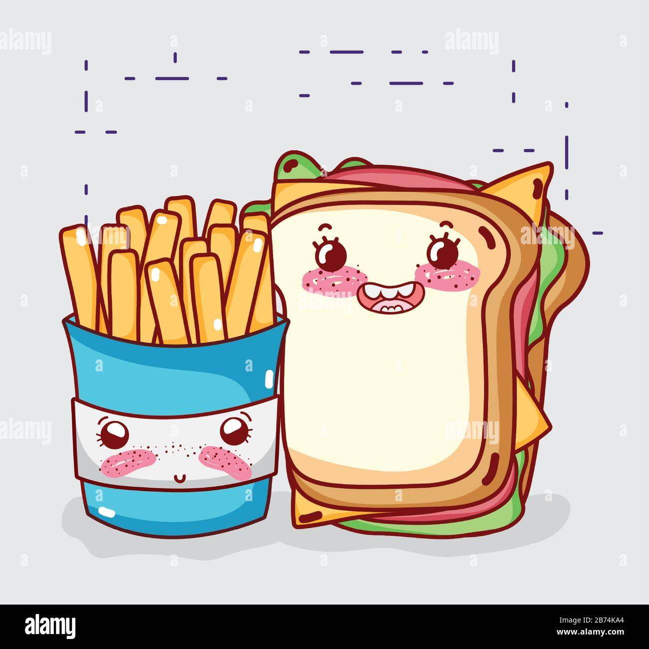 fast food cute french fries and sandwich cartoon character vector illustration stock vector image art alamy https www alamy com fast food cute french fries and sandwich cartoon character vector illustration image348612940 html