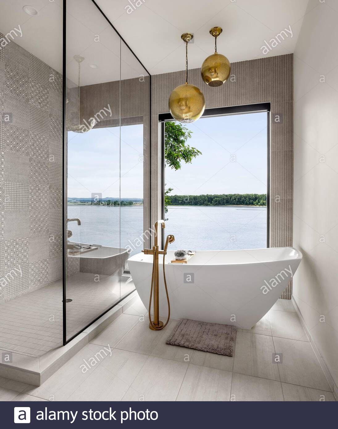 Stunning Bathroom In New Contemporary Style Luxury Home With Tile