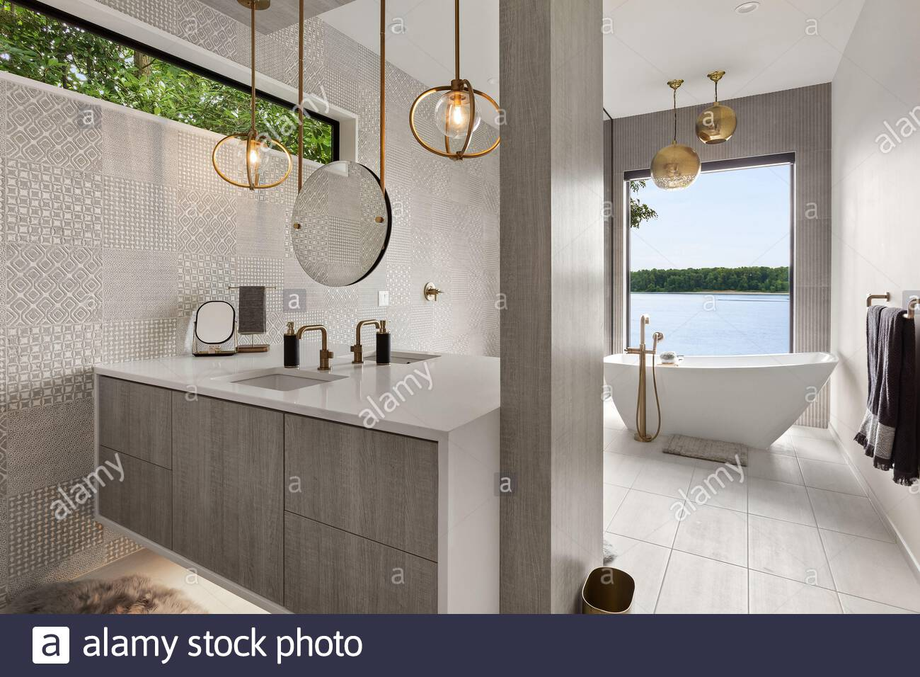 Stunning Bathroom In New Contemporary Style Luxury Home With