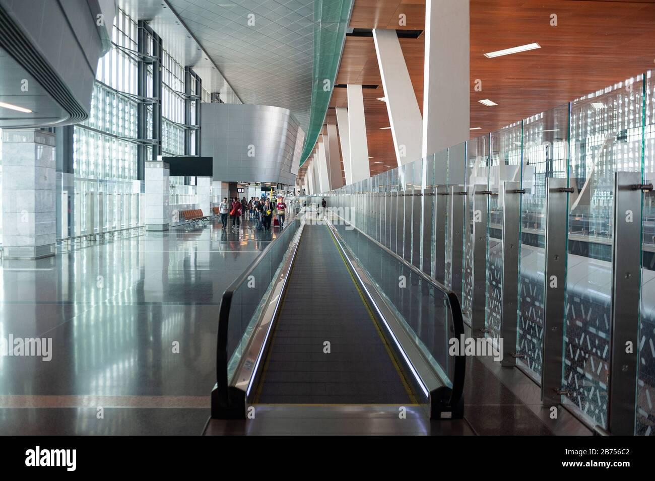 05.06.2019, Doha, Qatar - Interior view of the new Hamad International Airport. [automated translation] Stock Photo