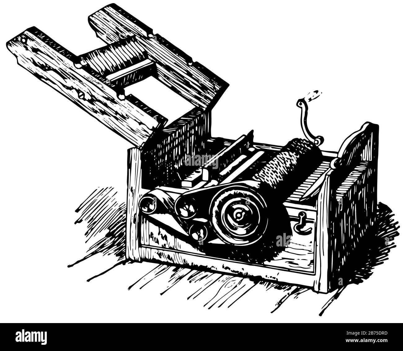 This illustration represents Eli Whitney Cotton Gin, vintage line drawing or engraving illustration. Stock Vector