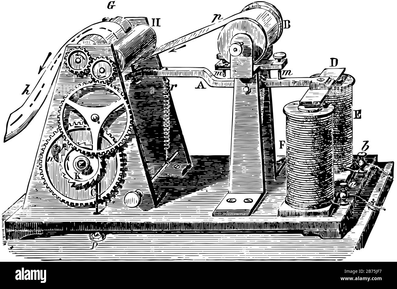 This illustration represents Magnetic Telegraph which represents the construction and arrangement of this form of telegraph, vintage line drawing or e Stock Vector