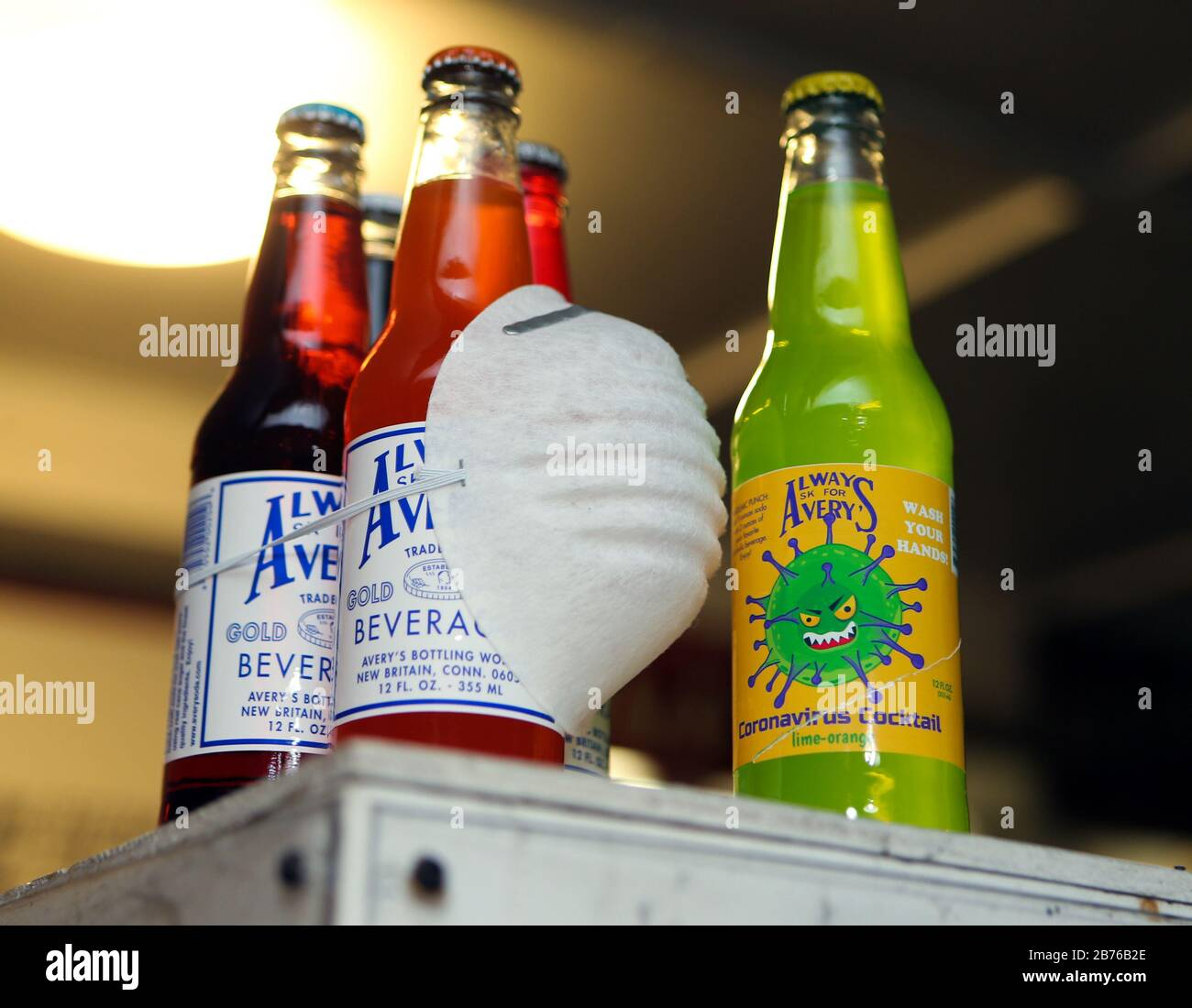 March 13, 2020, New Britain, CT, USA: Avery Beverges has been in business since 1904, and makes soda in more than 35 flavors. Their latest flavor is Coronavirus Cocktail. They also produce a line of Totally Gross Sodas like Bug Barf, Toxic Slime, Monster Mucus and Zombie Brain Juice. Avery also makes limited edition sodas relating to things in the news, such as So Long Osama, Deflated Ball Brew relating to the National Football League, and more recently Peach-Mint Soda featuring Donald Trump on the label. Credit: ZUMA Press, Inc./Alamy Live News Stock Photo